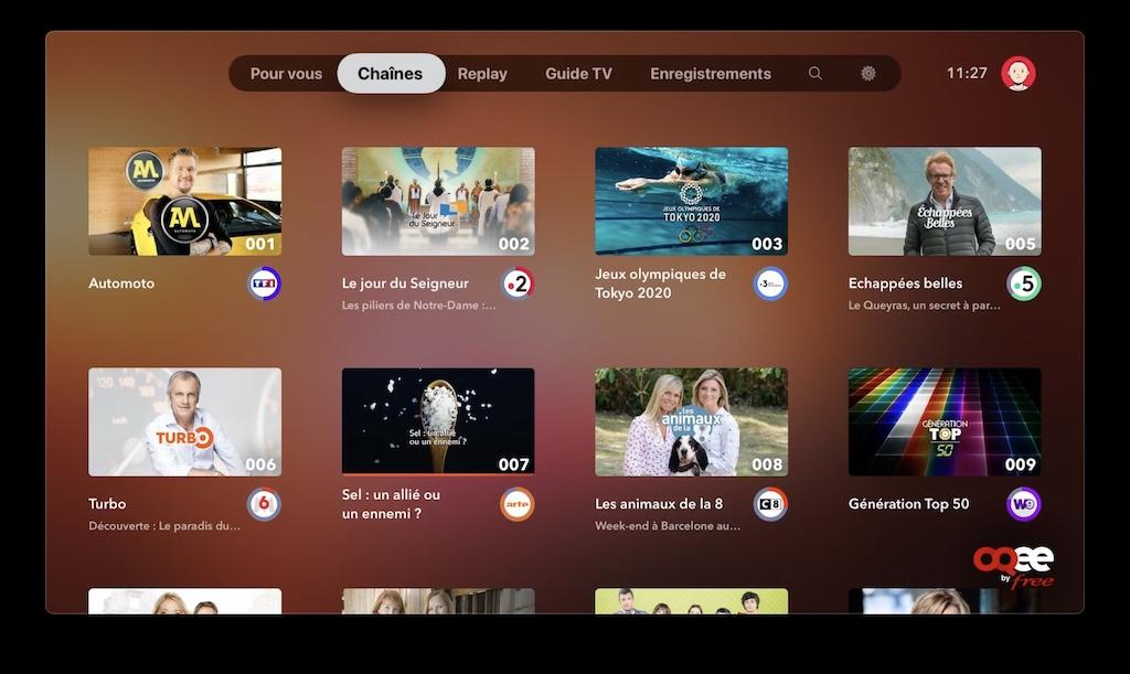 voir chaine freebox sur apple tv avec app oqee