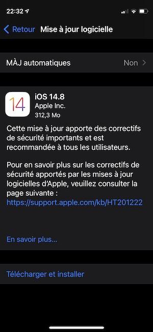 Telecharger iOS 14.8 en OTA