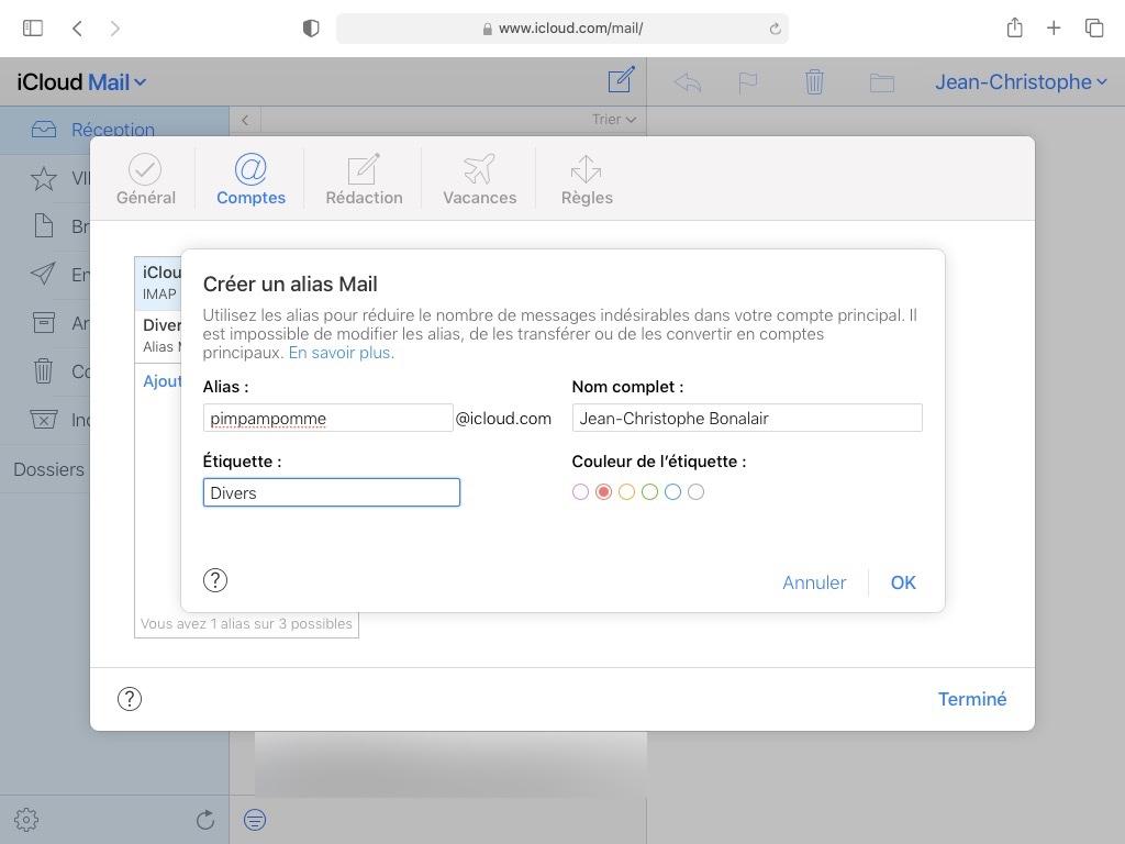 creer un alias mail apple icloud