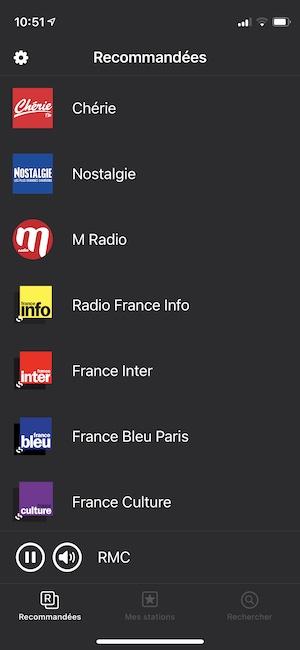 ecouter la radio sur son iPhone radio recommandees