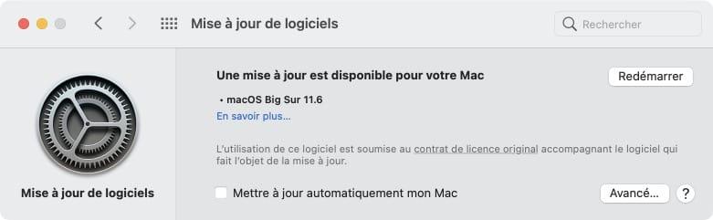 redemarrer mac apres maj big sur 11.6