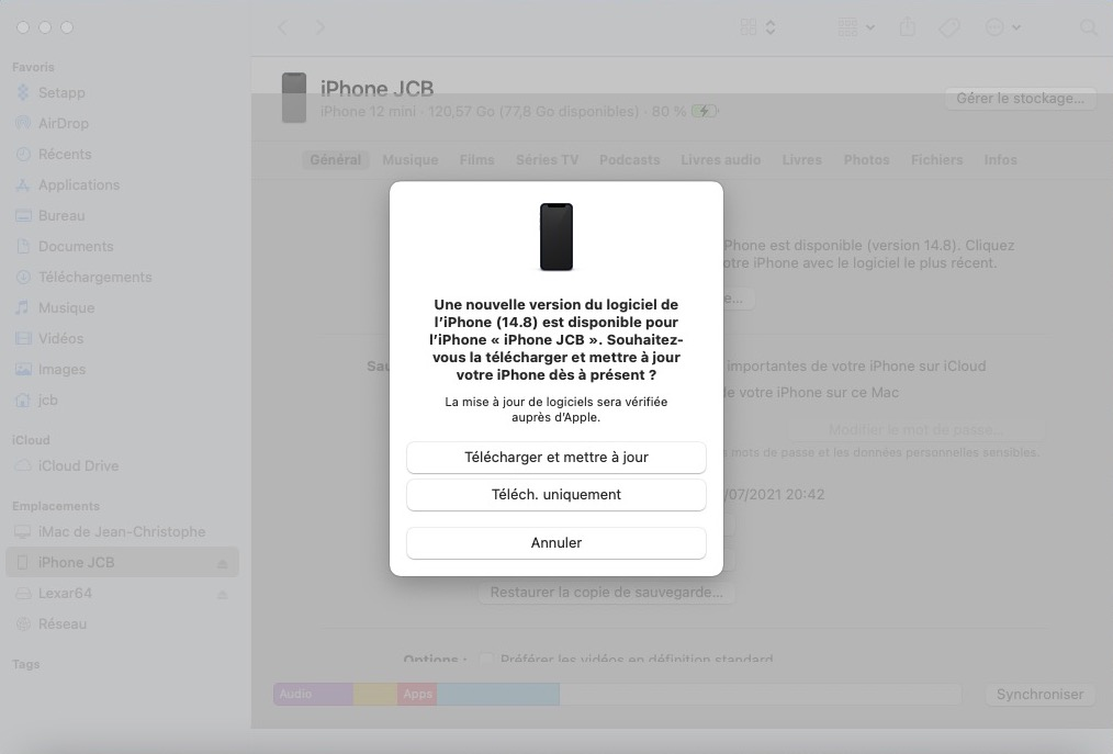 telecharger ios 14.8 ipados 14.8 depuis le Mac