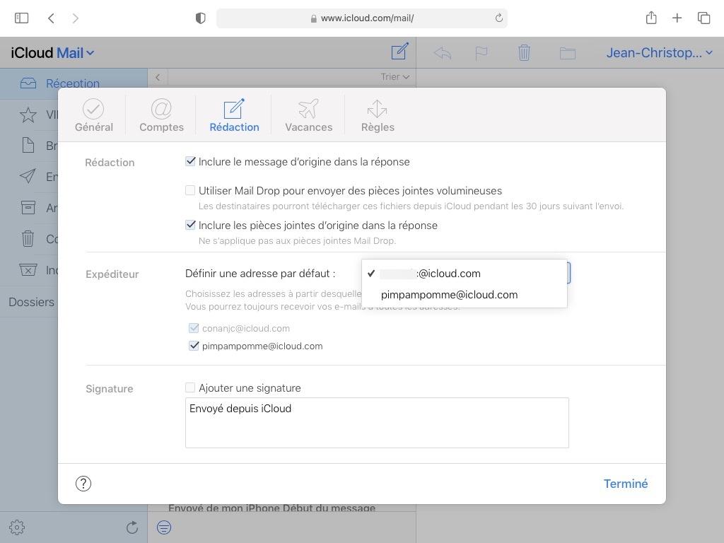 utiliser alias email au lieu de sa vraie adresse icloud
